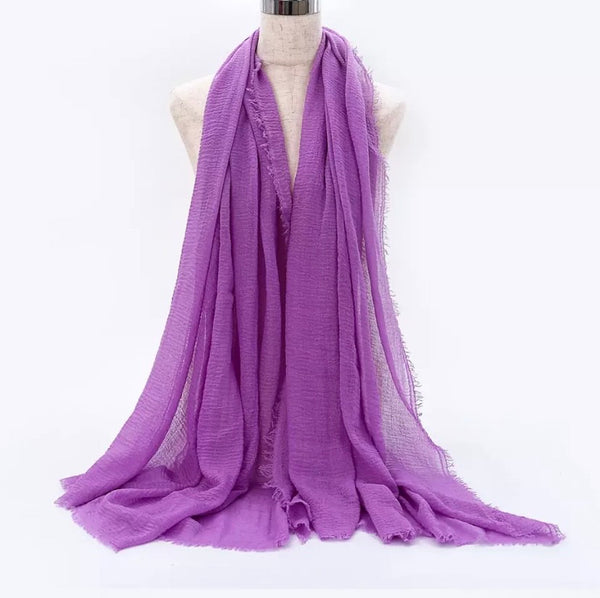Purple Pleated Cotton Scarf (5282326151336)