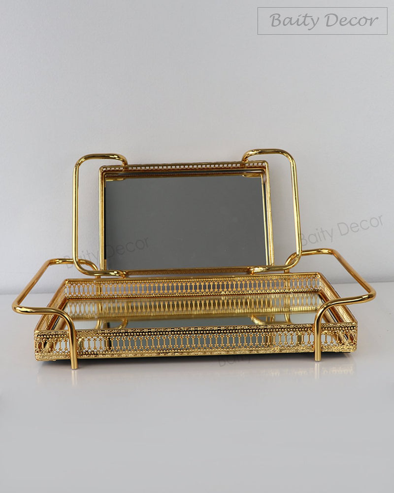 Gold Square Mirror Tray (4608140312633)
