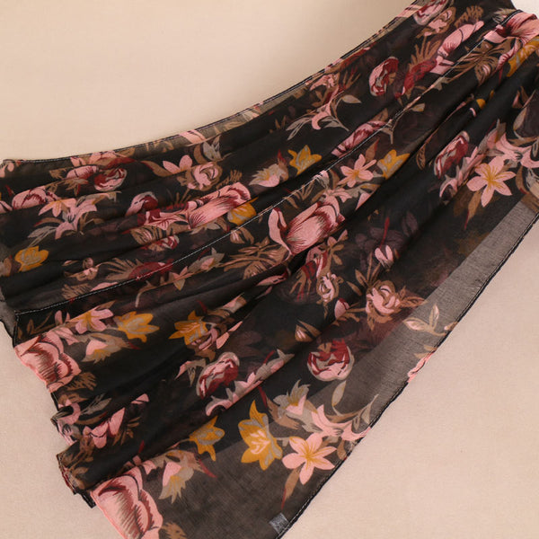 Black Floral Cotton Scarf (1332273184825)