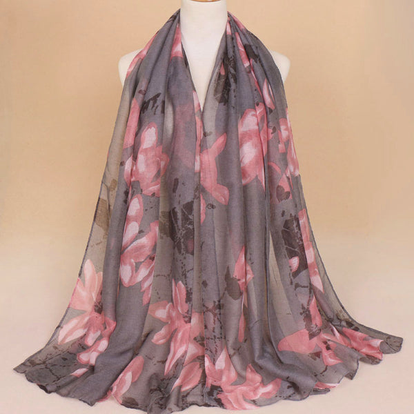 Gray Floral Cotton Scarf (775832895545)