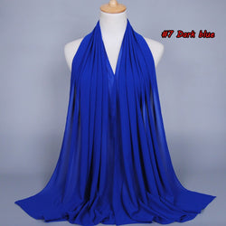 Royal Blue Chiffon Bubble Scarf (2251506155577)