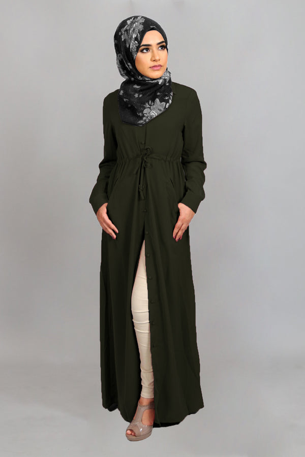 Deep Olive Soft Buttoned-Down Maxi Dress (4644837818425)