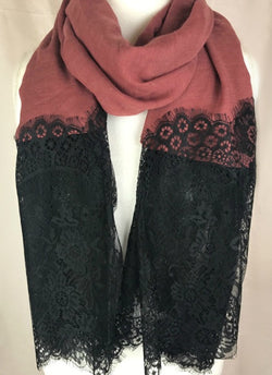 Mauve Cotton Long Black Lace Scarf (10360834446)
