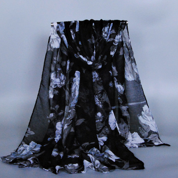 Black/Grey Floral Cotton Scarf (9604195534)