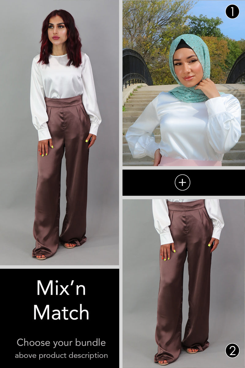 Bundle: Satin Pants and Blouse Set
