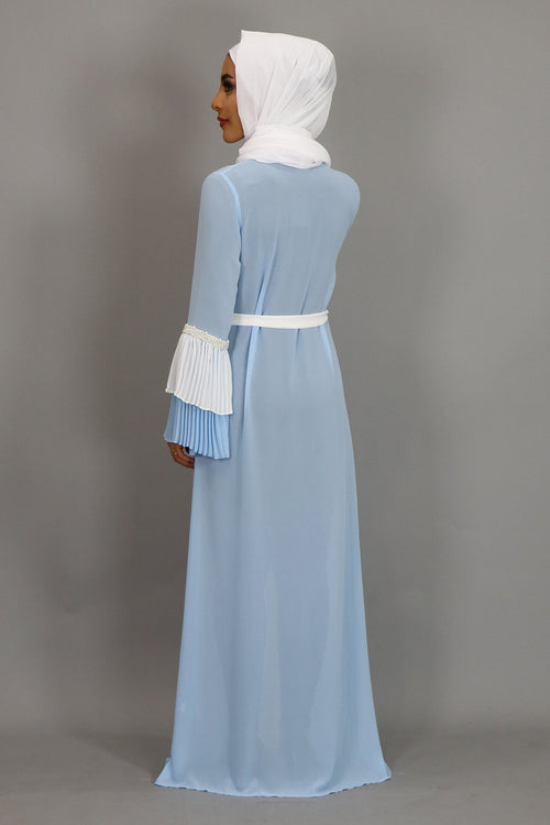 Sky Blue Chiffon Double Bell Cardigan Dress