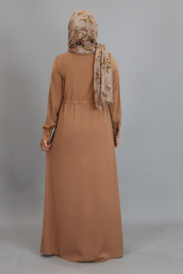 Tortilla Brown Zipper-Down Maxi Dress (2310419742777)