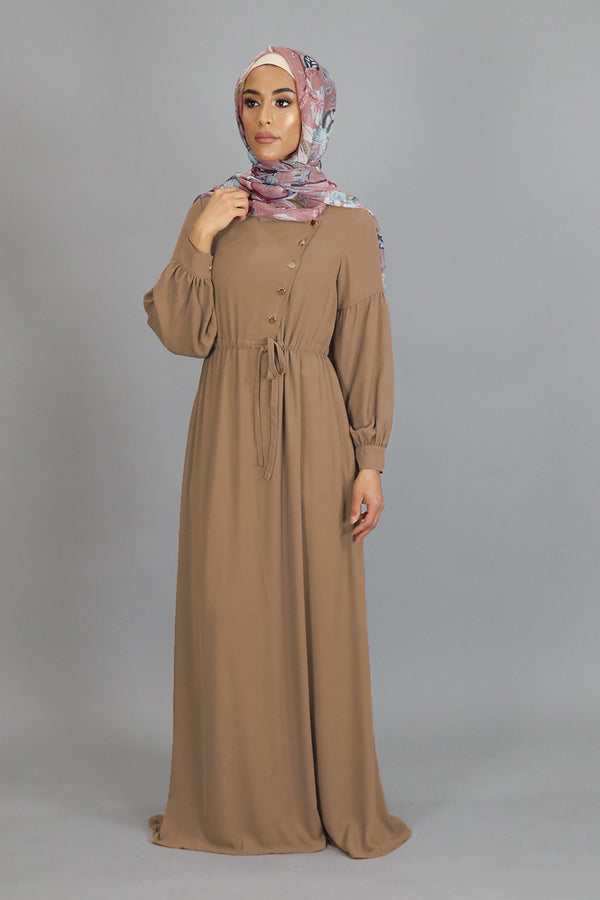 Tan Soft Gold Button Maxi Dress