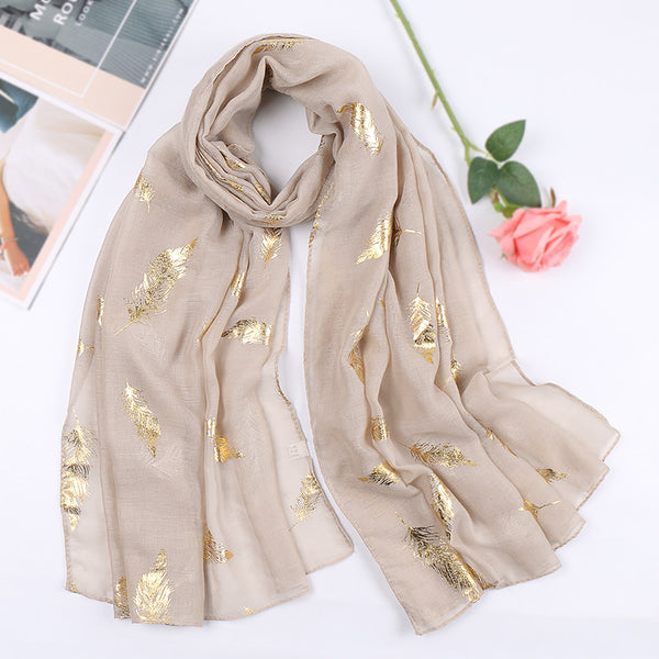 tan metallic cotton scarf