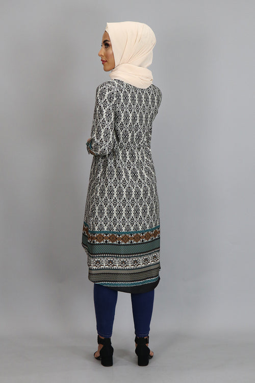 Beige Aztec Buttoned-Down Tunic Dress (2381455523897)