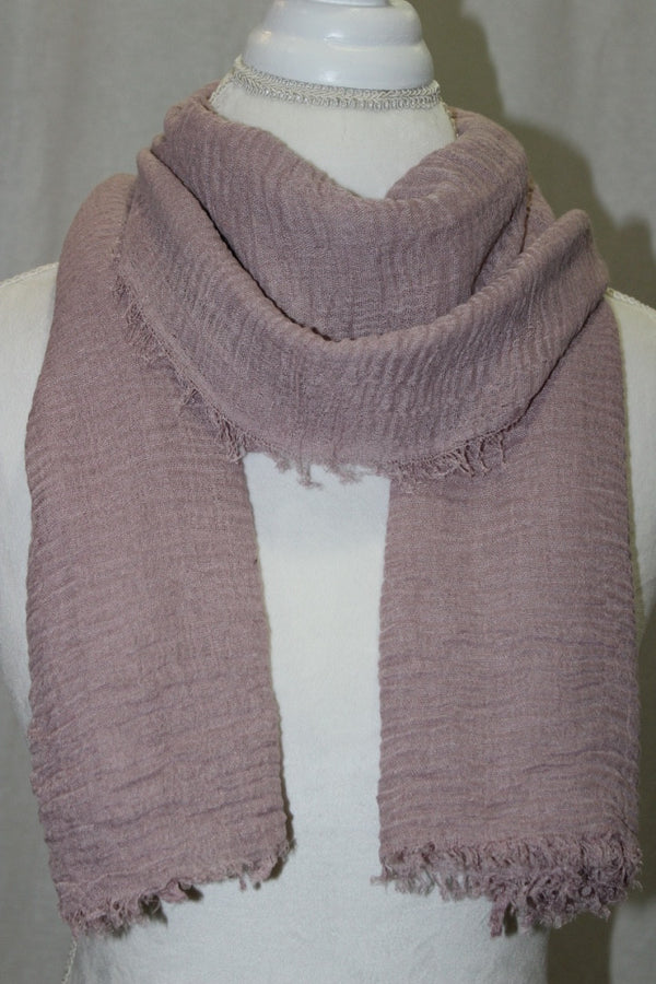 Dusty Rose Pleated Cotton Scarf (10872571278)