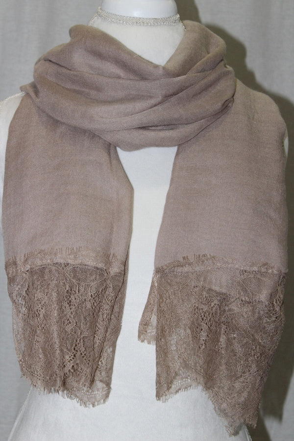 Tan Lace Cotton Scarf (10872501710)
