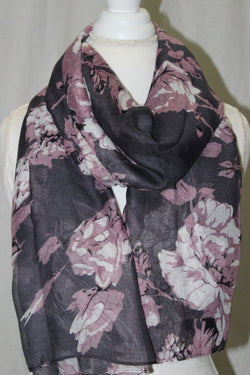 Dusty Rose/ Grey Floral Cotton Scarf (10872477134)