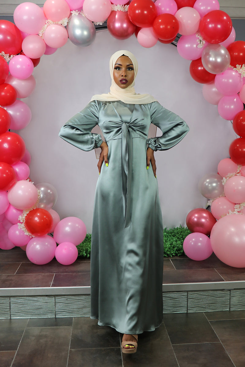 LaMeera Tie Front Satin Dress - Mint Gray
