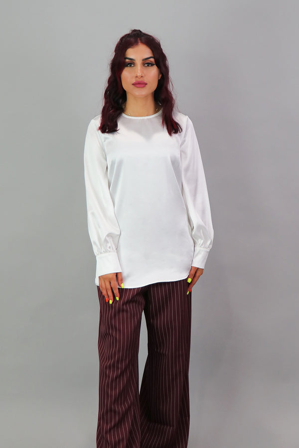 Lameera Satin Blouse - White