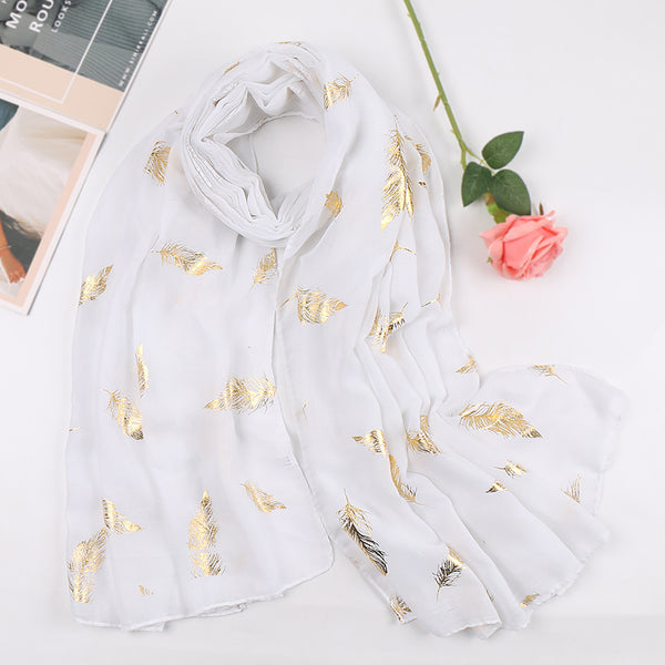 white metallic cotton scarf