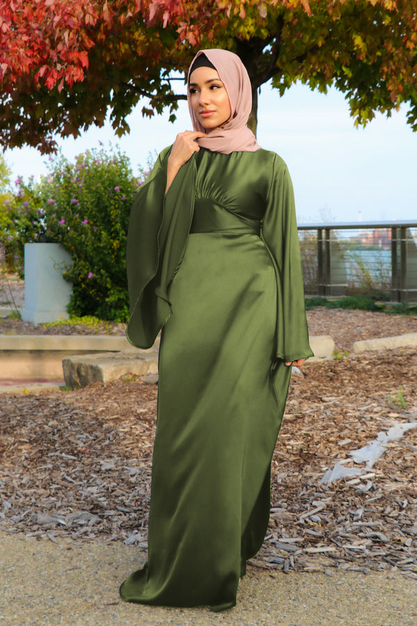 LaMeera Drape Sleeves Satin Dress - Sage Green