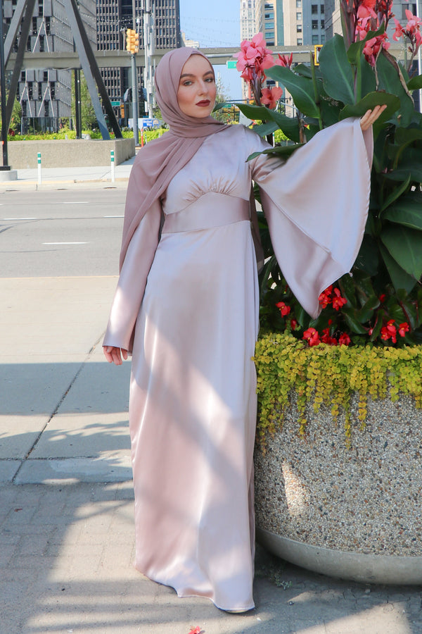 LaMeera Drape Sleeves Satin Dress - Blush Pink