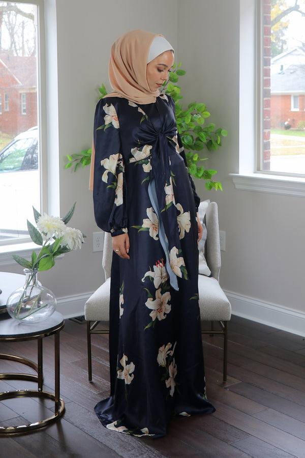Navy Blue Satin Floral Tie Front Maxi Dress