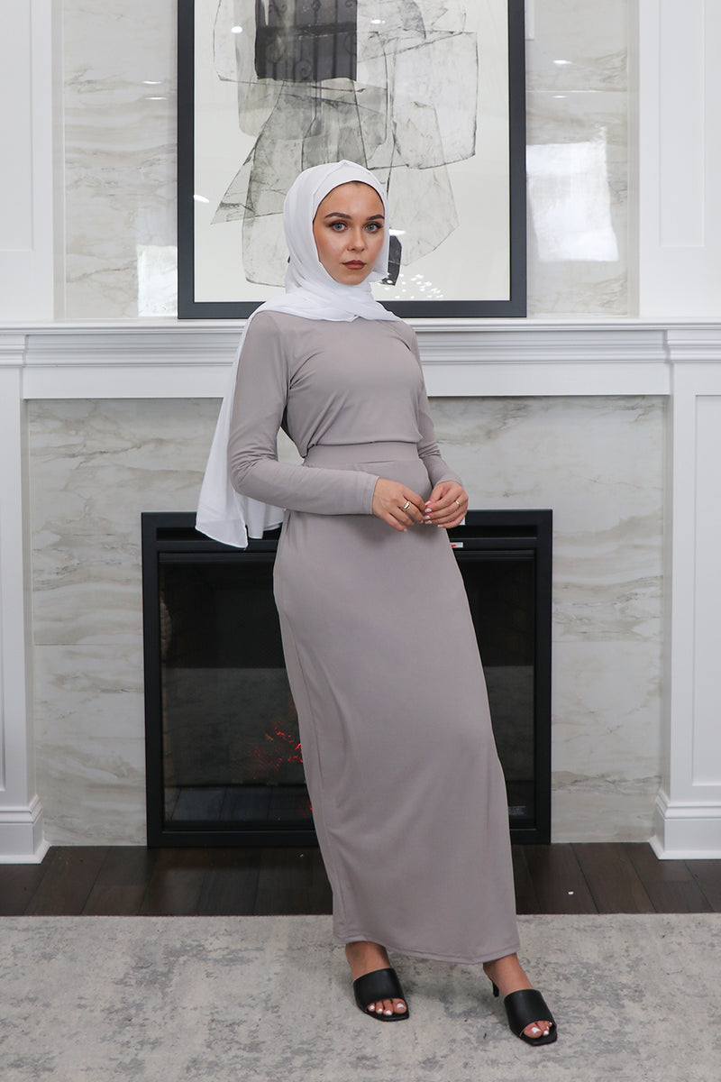 Luxe Spandex Maxi Skirt - Light Gray