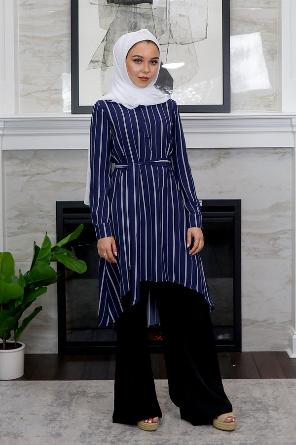 Navy Blue/ White Striped High Low Tunic