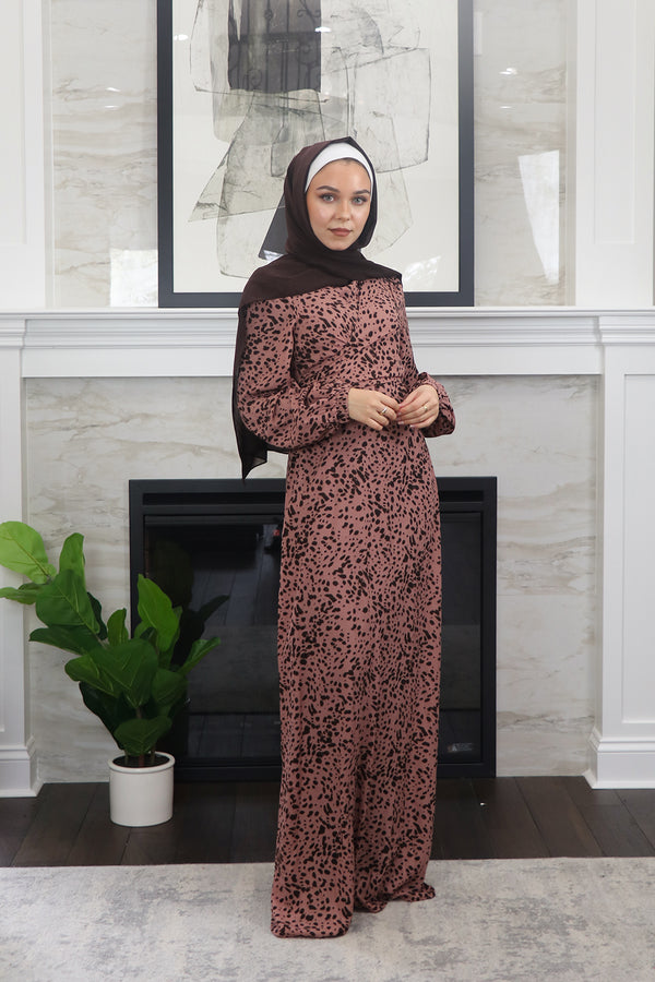 Nude Pink Leopard Tie Front Maxi Dress