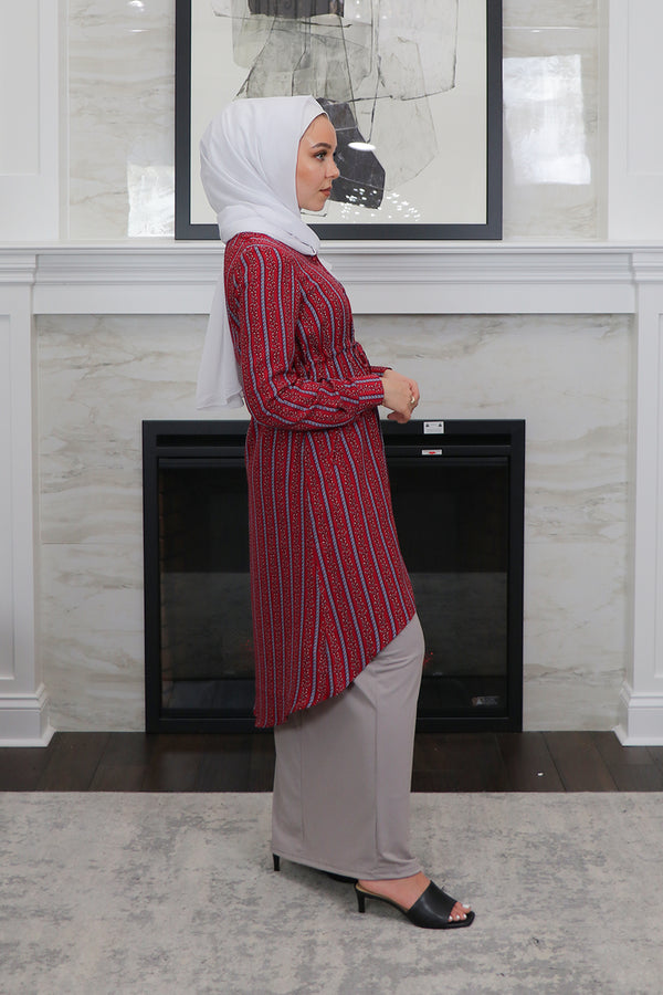 Maroon Aztec Buttoned-Down Tunic