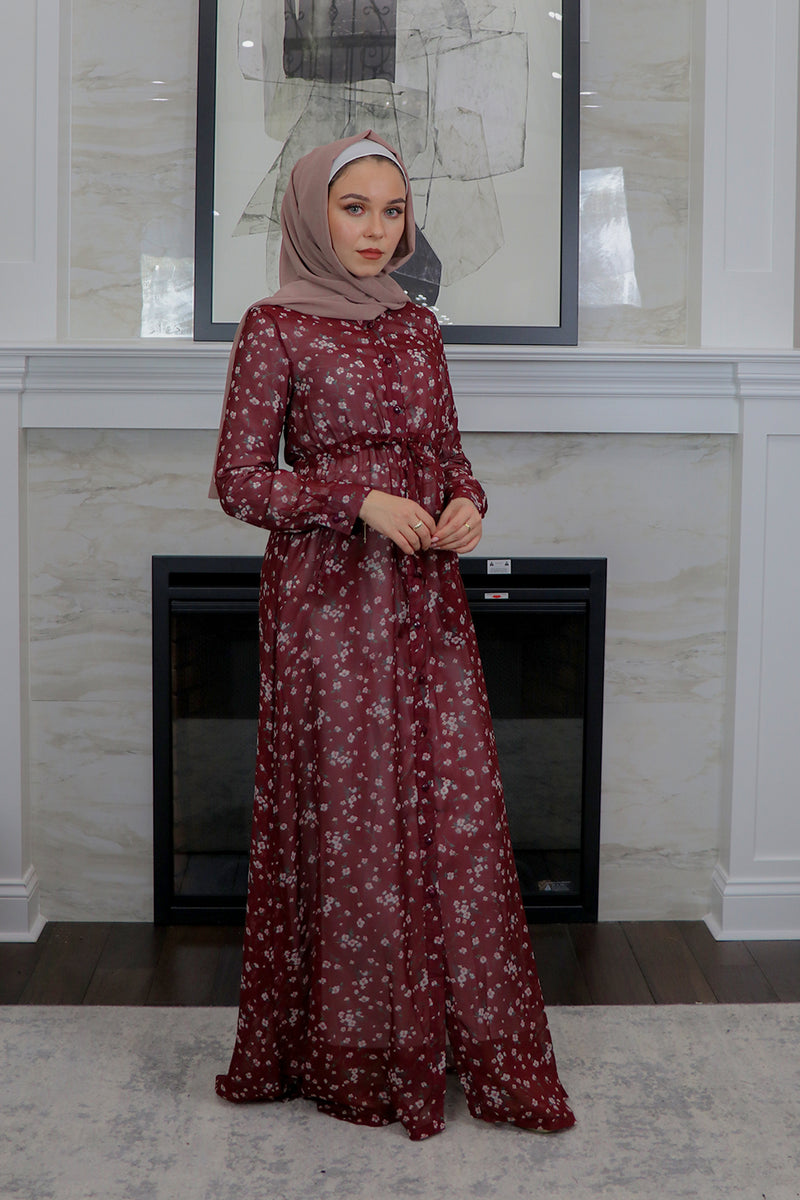 Maroon Floral Button Down Maxi Dress