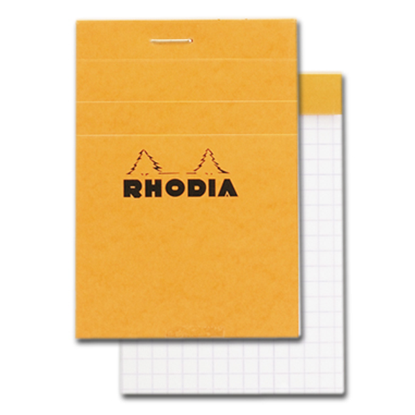 Rhodia Classic Notepads Top Staplebound 3 x 4 Graph Orange 80 sheets