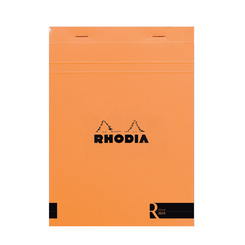 "Rhodia ""R"" Premium Stapled Notepad, Orange, Blank, 3 3/8 x 4 3/4"