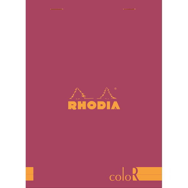 Rhodia ColorR Premium Stapled Notepad, Raspberry, Lined, 6 x 8 1/4
