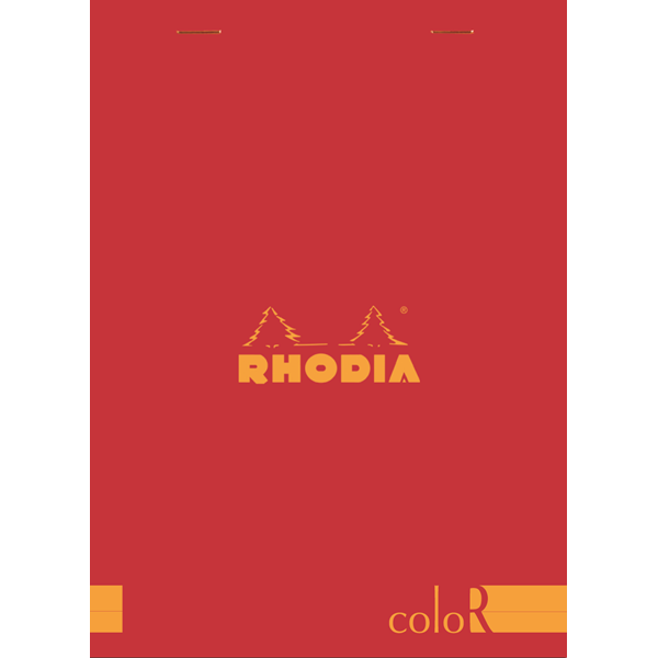 Rhodia ColorR Premium Stapled Notepad, Red, Lined, 6 x 8 1/4