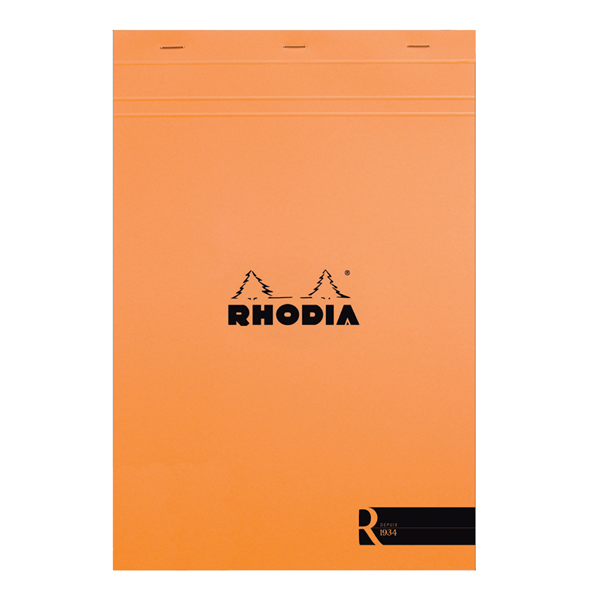 "Rhodia ""R"" Premium Stapled Notepad, Orange, Blank, 8 1/4 x 11 3/4"