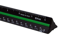 "Alvin 12"" Black Aluminum Architect Triangular Scale"
