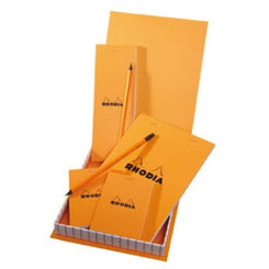 Rhodia Notebooks and Notepad Essentials Treasure Box with Pencils, Orange