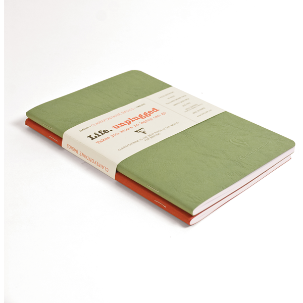 Clairefontaine Basic Notebooks Side Staplebound Duo 5 3/4 x 8 1/4 Lined Red/Green 48 sheets