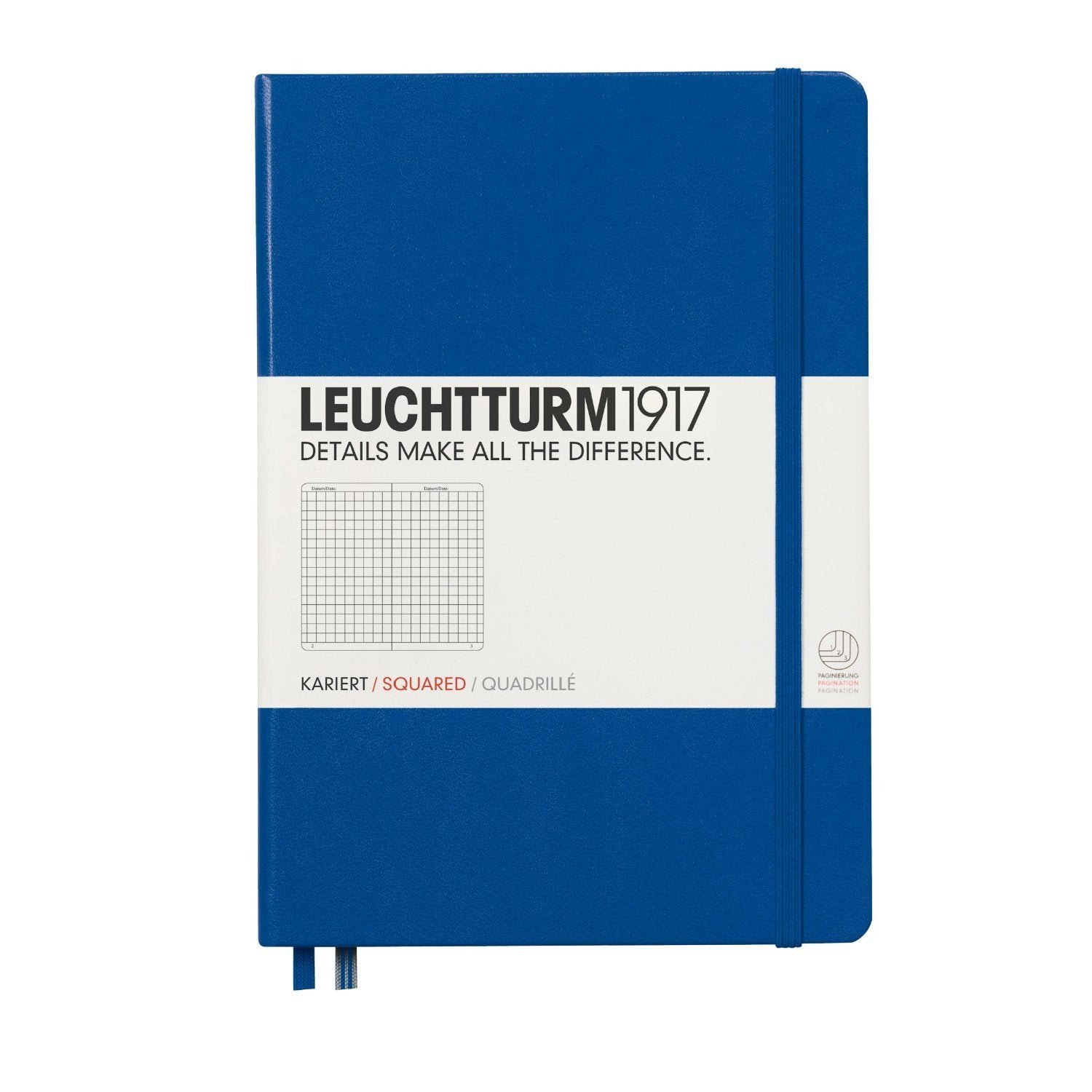 Leuchtturm1917 Medium A5 Notebook Hardcover Squared Royal Blue