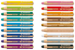 Stabilo Woody Crayons Set Of 18 W/Sharpener