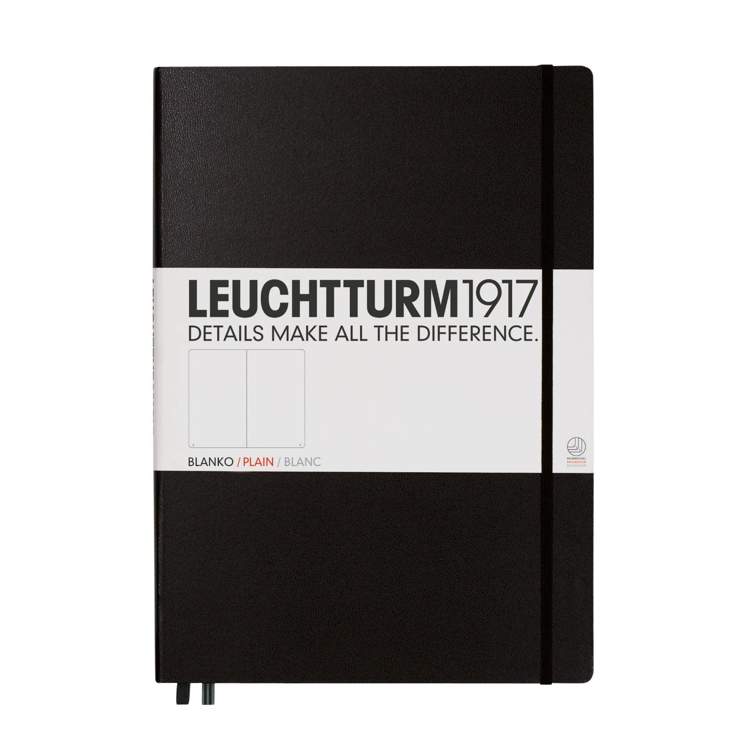 Leuchtturm1917 Black Hard Cover Master Notebook, Plain, A4