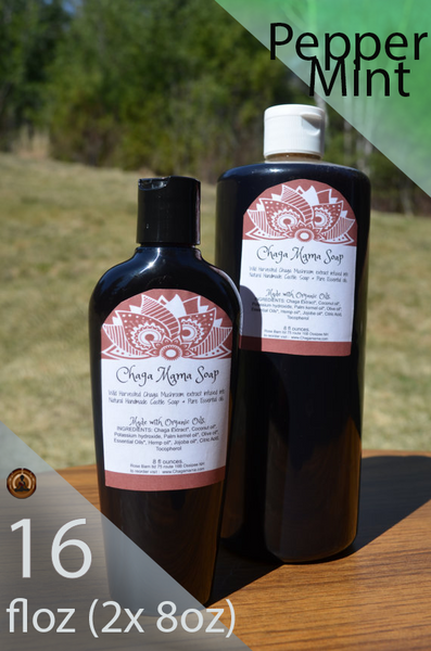 16 fl.oz. Wild Chaga Castile Soap - Peppermint