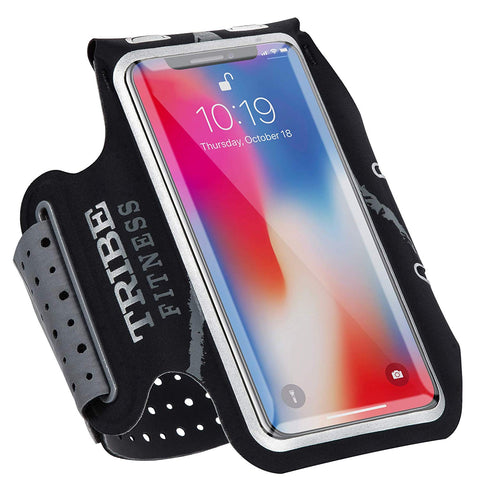 TRIBE Premium 100% Lycra Running Armband & Phone Holder in Black and Grey for Medium Sized Smartphones - Tribe Fitness