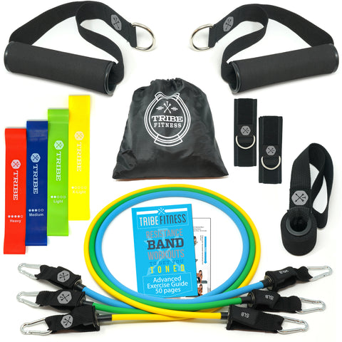 Resistance Bands Set Bundled with Loop Bands I Exercise Bands with Stackable Workout Bands, Door Anchor, Handles, Ankle Straps & Advanced eBook - for Resistance Training, Gym, Yoga, Pilates and More! - Tribe Fitness