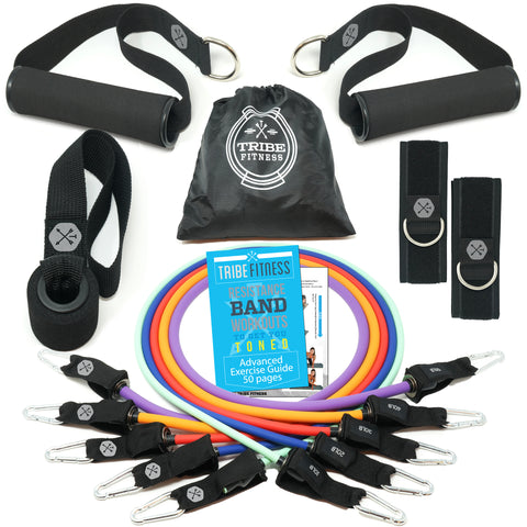 TRIBE PREMIUM Resistance Bands Set for Exercise, Workout Bands for Men with Fitness Tension Bands, Handles, Door Anchor, Ankle Straps, Carry Bag & Advanced eBook - Strength Training, Home Gym & More!! - Tribe Fitness