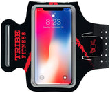 TRIBE Premium 100% Lycra Running Armband & Phone Holder in Black & Red for Smaller Sized Smartphones - Tribe Fitness