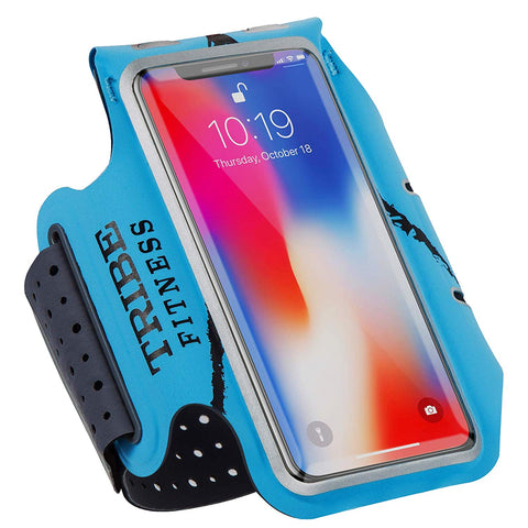 TRIBE Premium 100% Lycra Running Armband & Phone Holder in Light Blue for Smaller Sized Smartphones - Tribe Fitness