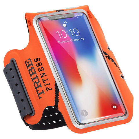 TRIBE Premium 100% Lycra Running Armband & Phone Holder in Orange for Larger Sized Smartphones - Tribe Fitness
