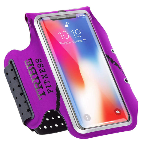 TRIBE Premium 100% Lycra Running Armband & Phone Holder in Purple for Smaller Sized Smartphones - Tribe Fitness