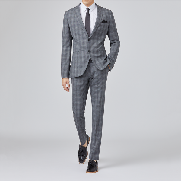 Yaletown DWR Suit Pant <br> Slate-Grey Checks