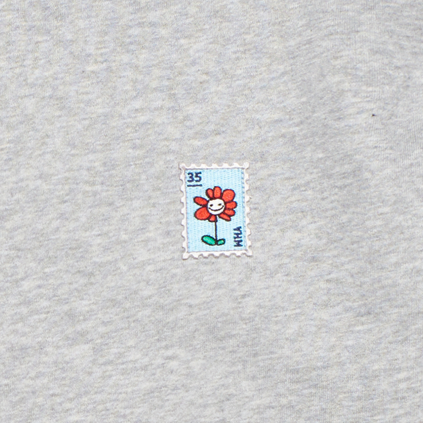 Flower Charm Stamp Fleece Crewneck (Heather Grey)