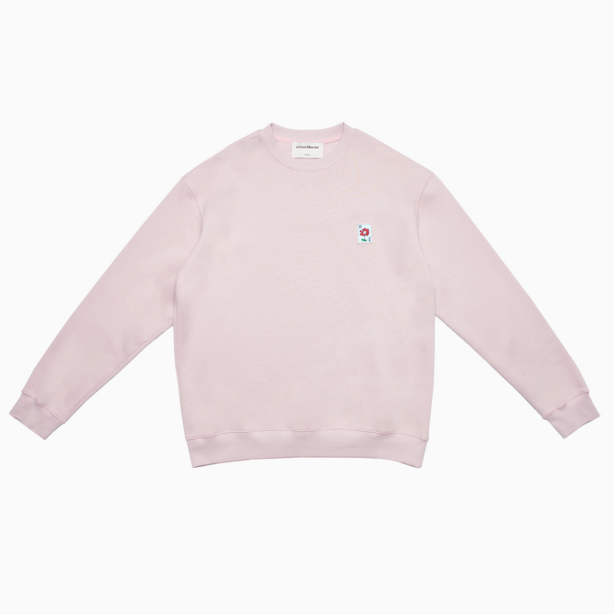 Flower Charm Stamp Fleece Crewneck (Blush)